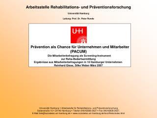Arbeitsstelle Rehabilitations- und Präventionsforschung Universität Hamburg
