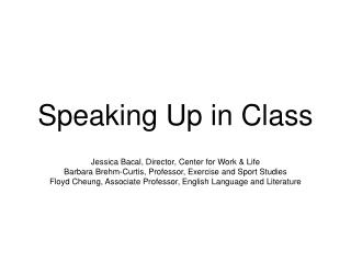 Speaking Up in Class