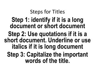 Steps for Titles