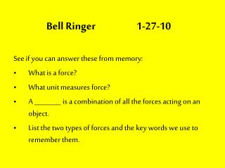 Bell Ringer  1-27-10