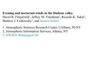 Evening and nocturnal winds in the Hudson valley