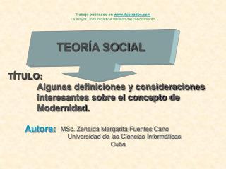 TÍTULO: Algunas definiciones y consideraciones             interesantes sobre el concepto de
