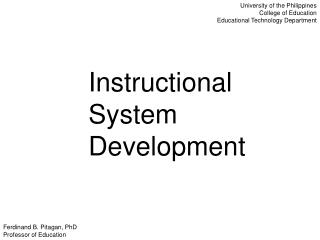 Instructional System Development