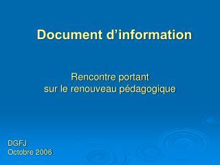 Document d�information