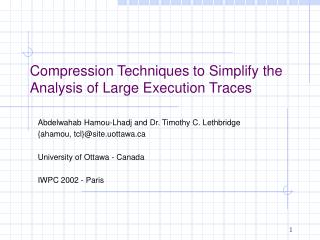 Compression Techniques to Simplify the Analysis of Large Execution Traces