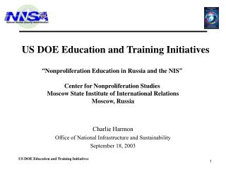 US DOE Education and Training Initiatives