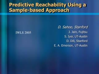 Predictive Reachability Using a Sample-based Approach