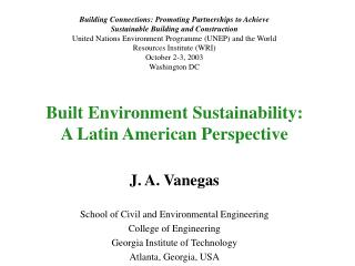 Built Environment Sustainability: A Latin American Perspective