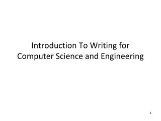 Introduction To Writing for Computer Science and Engineering