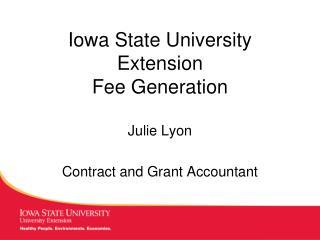 Iowa State University Extension  Fee Generation