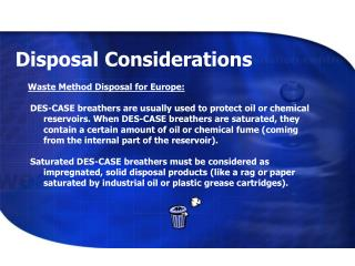 Disposal Considerations