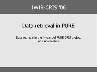 IWIR-CRIS '06