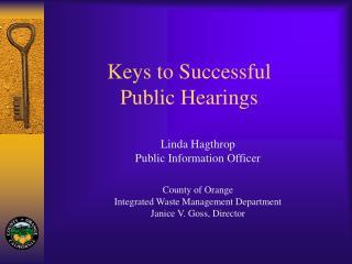Keys to Successful Public Hearings