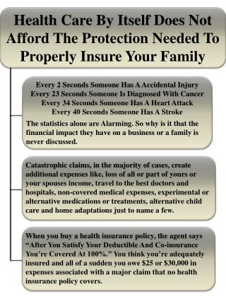 Health Care By Itself Does Not Afford The Protection Needed To Properly Insure Your Family