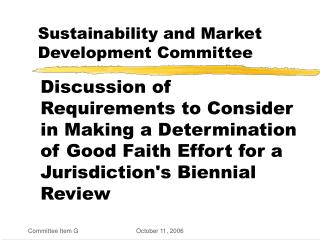 Sustainability and Market Development Committee