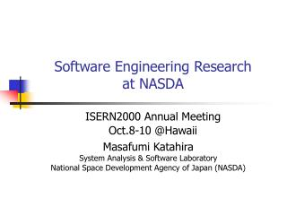 Software Engineering Research  at NASDA