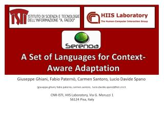 A Set of Languages for Context-Aware Adaptation