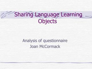 Sharing Language Learning Objects