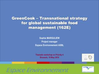 GreenCook  – Transnational  strategy  for global  sustainable food  management (162E)