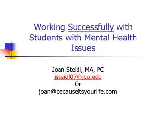 Working  Successfully  with Students with Mental Health Issues