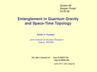Entanglement in Quantum Gravity  and Space-Time Topology