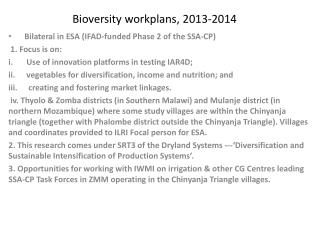 Bioversity  workplans , 2013-2014