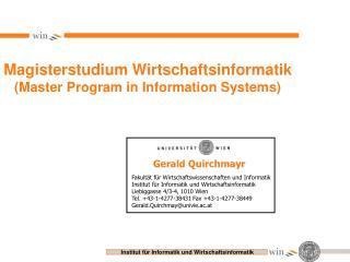 Magisterstudium Wirtschaftsinformatik (Master Program in Information Systems)