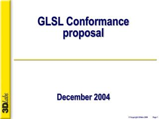 GLSL Conformance proposal