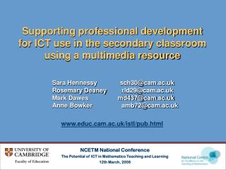 NCETM National Conference The Potential of ICT in Mathematics Teaching and Learning