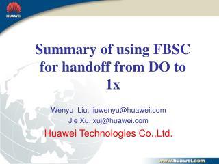 Wenyu  Liu, liuwenyu@huawei Jie Xu, xuj@huawei Huawei Technologies Co.,Ltd.