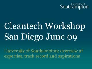 Cleantech Workshop San Diego June 09