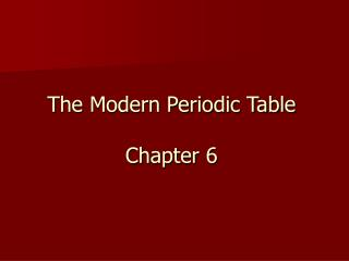 The Modern Periodic Table Chapter 6