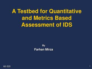 A Testbed for Quantitative and Metrics Based Assessment of IDS