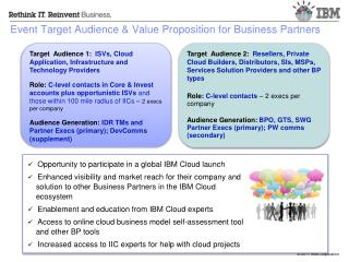Event Target Audience & Value Proposition for Business Partners