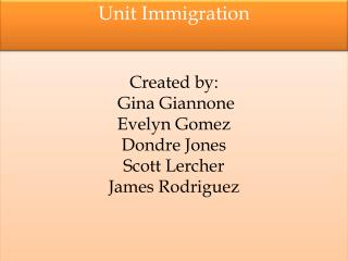 Created by:  Gina Giannone Evelyn Gomez Dondre  Jones Scott  Lercher James Rodriguez