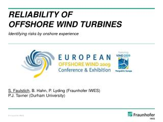 RELIABILITY OF  OFFSHORE WIND TURBINES
