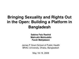 Bringing Sexuality and Rights Out in the Open: Building a Platform in Bangladesh