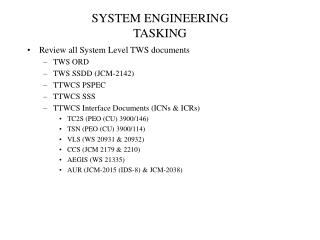 SYSTEM ENGINEERING TASKING