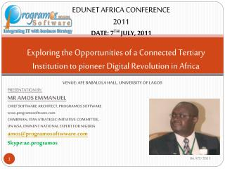 VENUE: AFE BABALOLA HALL, UNIVERSITY OF LAGOS PRESENTATION BY: MR AMOS EMMANUEL
