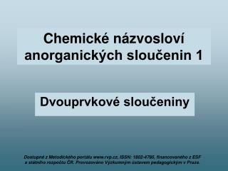 Chemické názvosloví anorganických sloučenin 1