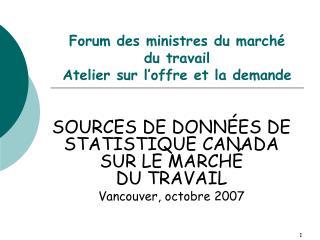 Forum des ministres du marché  du travail Atelier sur l'offre et la demande