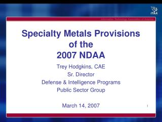 Specialty Metals Provisions of the  2007 NDAA