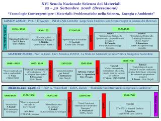 XVI Scuola Nazionale Scienza dei Materiali                  22 – 30  Settembre  2008  (Bressanone)