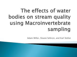 The effects of water bodies on stream quality using Macroinvertebrate sampling