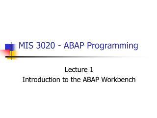 MIS 3020 - ABAP Programming