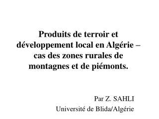 Par Z. SAHLI Université de Blida/Algérie