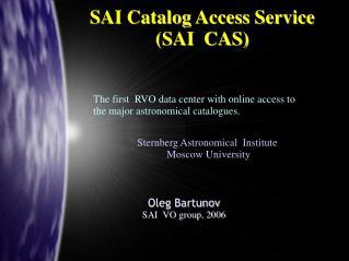 SAI Catalog Access Service (SAI  CAS)