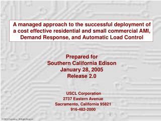 USCL Corporation 2737 Eastern Avenue Sacramento, California 95821 916-482-2000