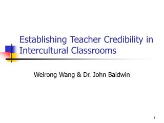 Establishing Teacher Credibility in Intercultural Classrooms