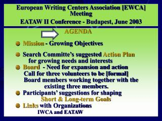 European Writing Centers Association [EWCA] Meeting EATAW II Conference - Budapest, June 2003